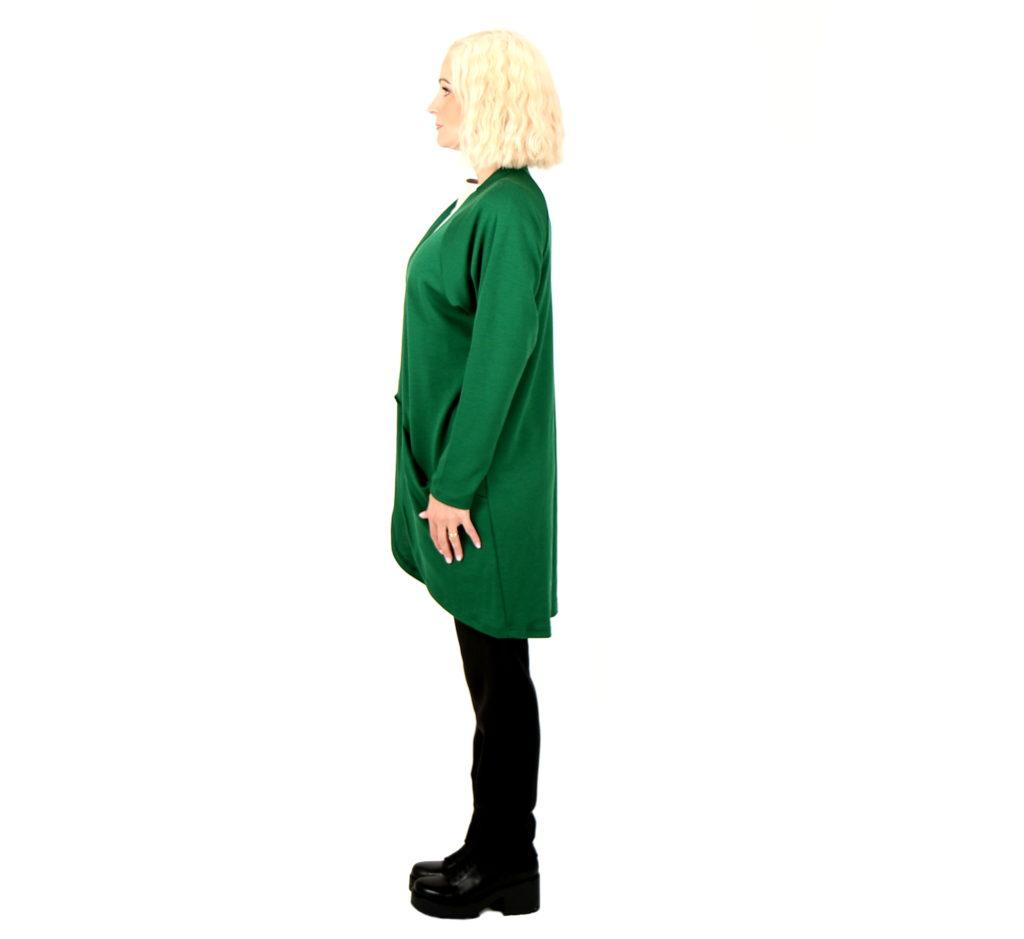 Vietto merinovillainen taskuneuletakki vihreä