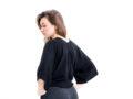 Vietto merinovillainen musta kimonopaita takaa