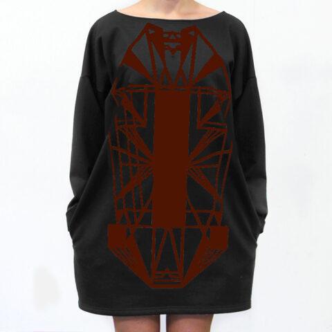 Vietto Urban Art deco mekko musta burgundy