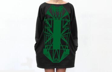 Vietto Urban Art deco mekko musta-vihreä